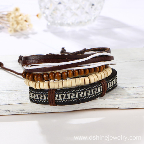 Wooden Beads Leather Adjustable Customized Leather Bracelets