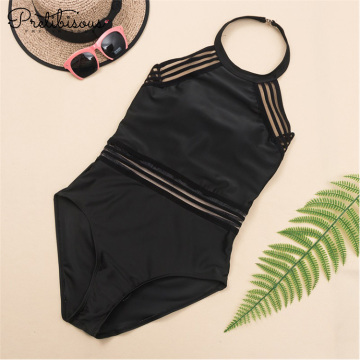 High neck one piece swim suit for women