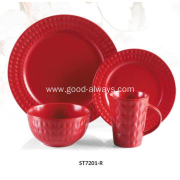 16 Piece Stoneware Emossed Dinnerware Set-Red