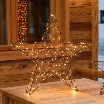 3D Five-pointed star Metal motif Christmas light