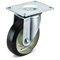 Black Rubber Large Flat bottom Movable Caster