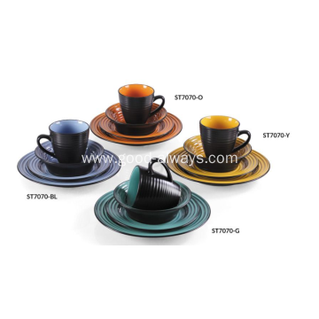 16 Pieces Embossed Stoneware Dinnerware Set