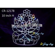 Leading for Rhinestone Pageant Crowns 10 Inch Flower Beauty Pageant Crown export to Brazil Factory
