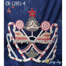 "Wholesale Price China for Snowflake Round Crowns 4"" Rhinestone Christmas Pageant Crowns For Sale export to Ethiopia Factory"