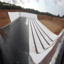 Geomembrane material reinforced with a polyester scrim