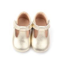 Pretty Gold Baby Girls T-Bar Shoes Dress Shoes