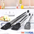 Premium Sturdy Stainless-steel Nylon Locking Food Tongs