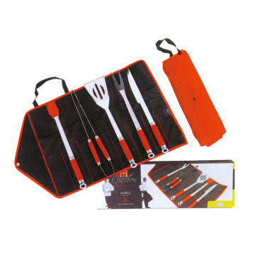 5pcs BBQ set with TPR coating handle