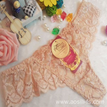 OEM wholesale China hot sale sexy thong comfortable apricot lace non-trace t-back elastic fancy underwear 002