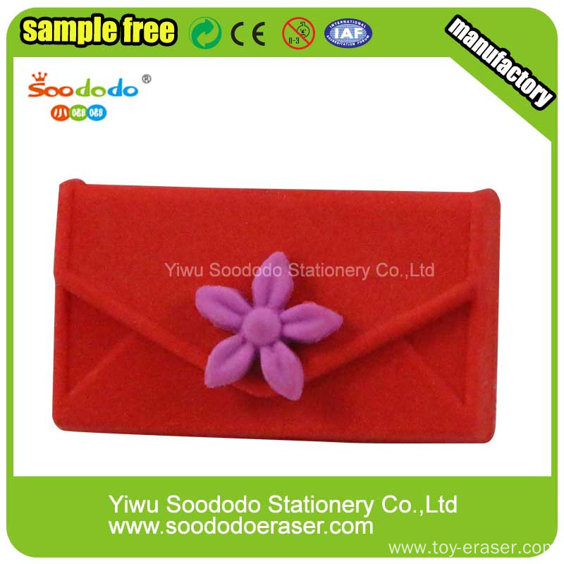 Cute red female student bag stationery eraser