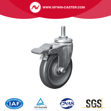 Light 4 Threaded Brake PU Caster