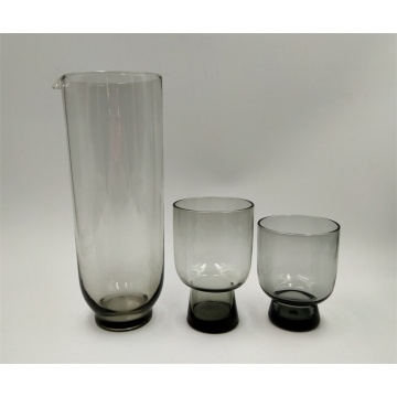 Smoke grey glass pitcher and cup wholesale