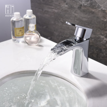 Hot Sale for Bathroom Basin Faucet HIDEE Modern Full Copper Waterfall Basin Faucet supply to Japan Exporter