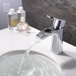 Excellent quality price for Bathroom Basin Faucet HIDEE Modern Full Copper Waterfall Basin Faucet export to France Exporter