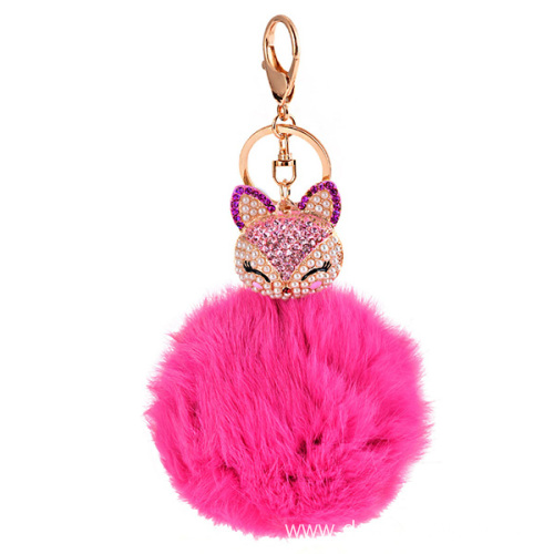 Rhinestone Fox Charm Rabbit Fur Ball Keychain For Women Bag
