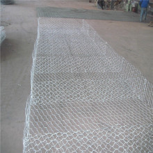 River flood control stone filled weaved mesh gabions