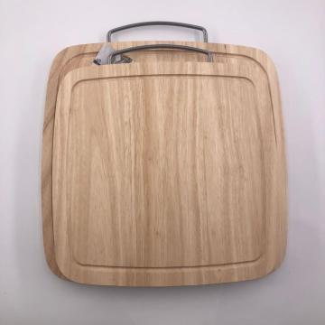 Rubber wood cutting board with handle