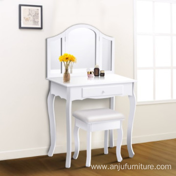 White Tri Folding Mirror Vanity Makeup Table Set bathroom with Stool & Drawers