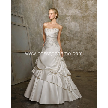 Simple A-line Strapless Cathedral Train Satin Beading Two-Layers Wedding Dress