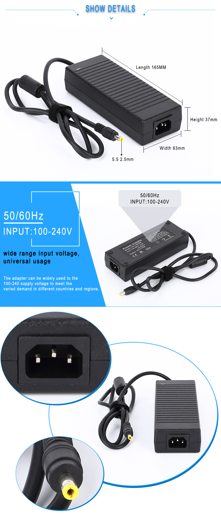 19v dc laptop adapter 120W