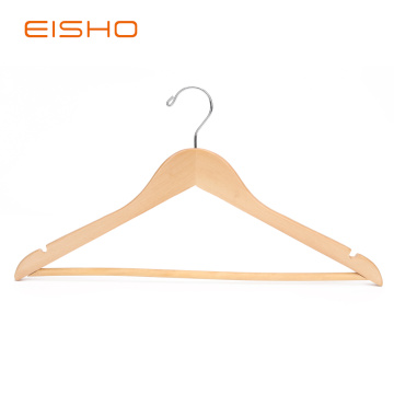 EISHO Natural Flat Wood Suit Hangers With Bar
