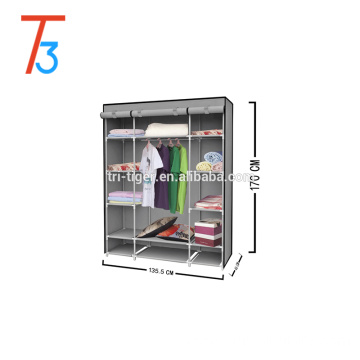 Three door curtain non-woven fabric wardrobe