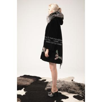 Women Austria Merino Shearling Coat With Mink Flower
