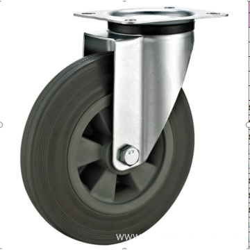 125mm industrial rubber    casters without brakes