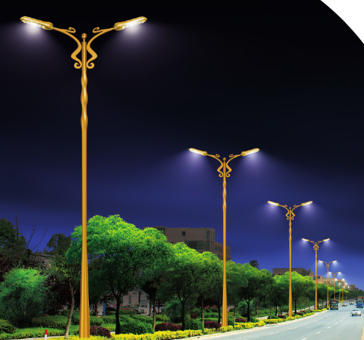 Conical aluminum alloy spinning lighting pole