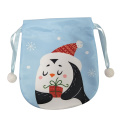 Mini Christmas gift bag with cute penguin pattern