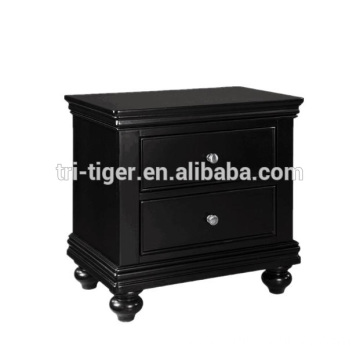 factory directly black solid wood bedside table simple design modern night stand