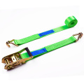 "1.5"" 3000kg 38mm Plastic Handle Ratchet Buckle Polyester Webbing Belt Strap With 1.5 Inch Double J Hooks"