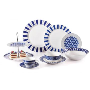 New Bone Stripe Decal Dinnerware with Cake Plate