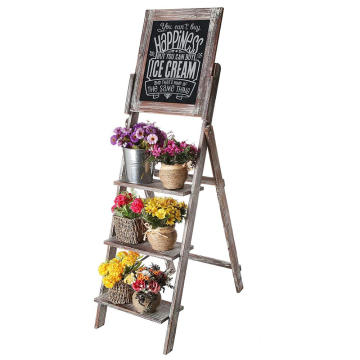 Decorative Torched Wood Easel Style Chalkboard Stand with 3 Tier Display Shelves