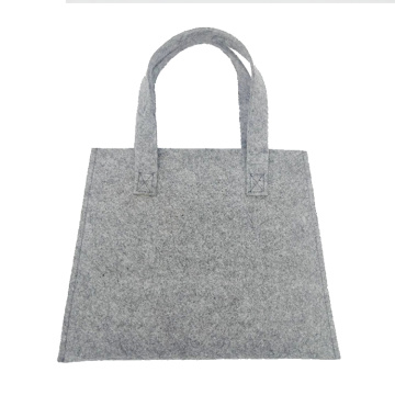 Felt grey handle tote bag