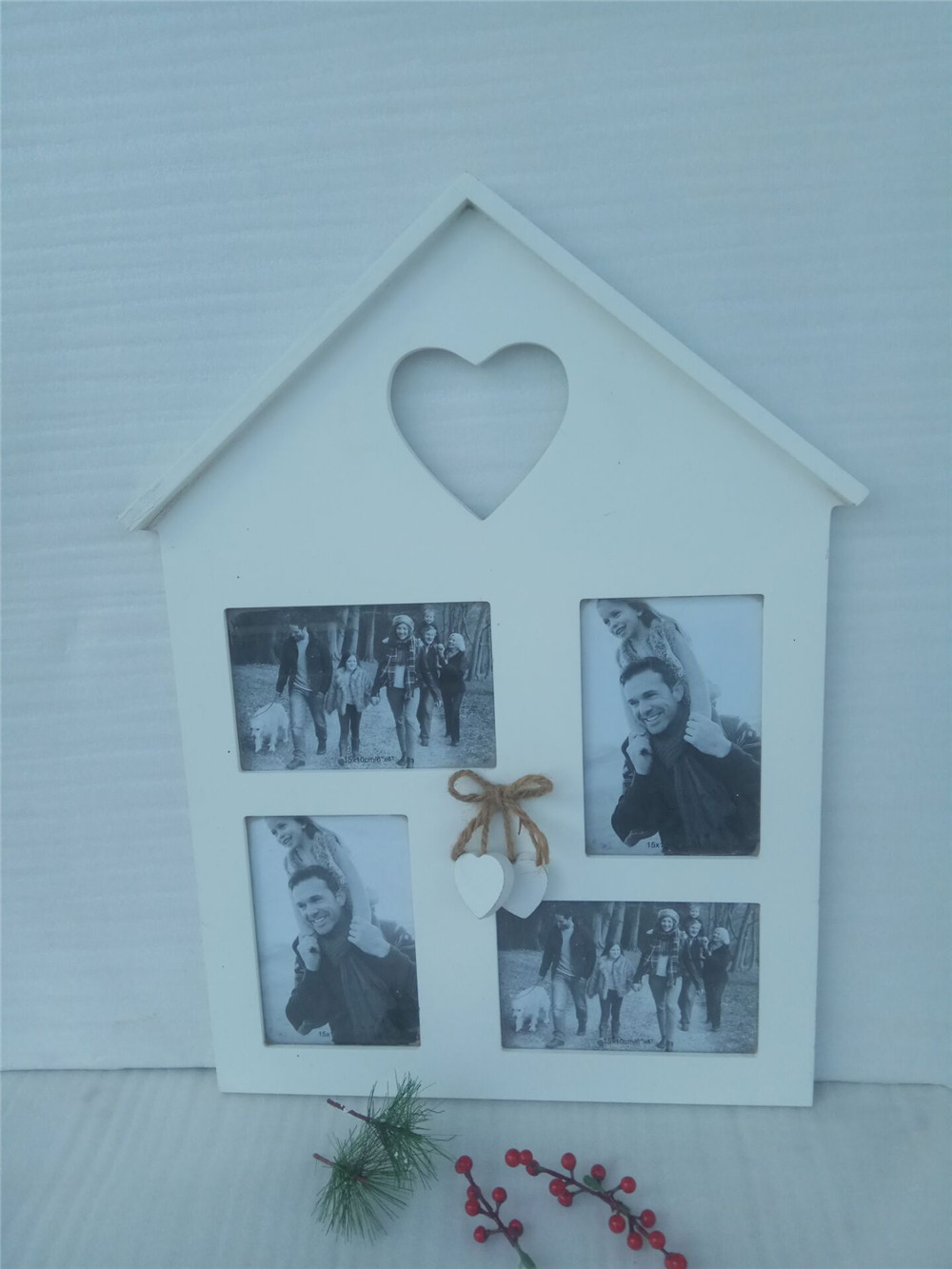 wooden house shape photo frame