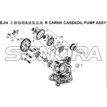 E-04 R CARNK CASE&OIL PUMP ASSY XS150T-8 CROX For SYM Spare Part Top Quality