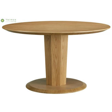 Round Dining Table Solid Wood Light Walnut