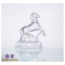 Decorative Clear Impetuous Horse Glass Decoration Glass Animal Figurines