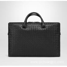 weave fashion leather brief bag