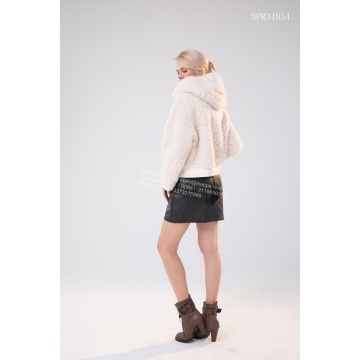 High Definition for Women Winter Fur Jacket Short Coat of White Lamb export to Spain Exporter