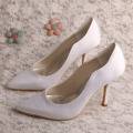 Plain White Satin Heels Pointed Toe