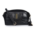Small Women Crossbody Purses Adjustable Black Crocodile Bags