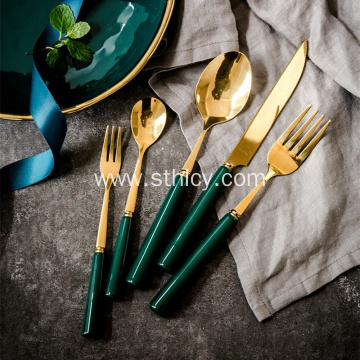 304 Stainless Steel Dark Green Gold-plated Tableware Set