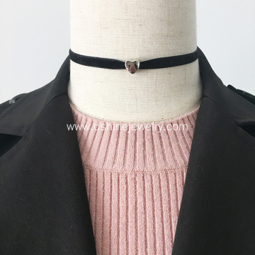 Fine Velvet Ribbon Choker Silver Love Pendant Necklace