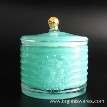 Gold knob and edge cylinder glass jar for wax