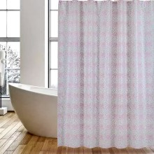 Shower Curtain PEVA Pink Leaves