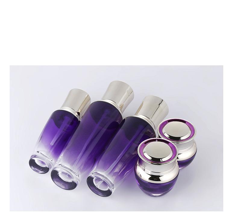 Skin care bottle set of purple glass bottle (3)
