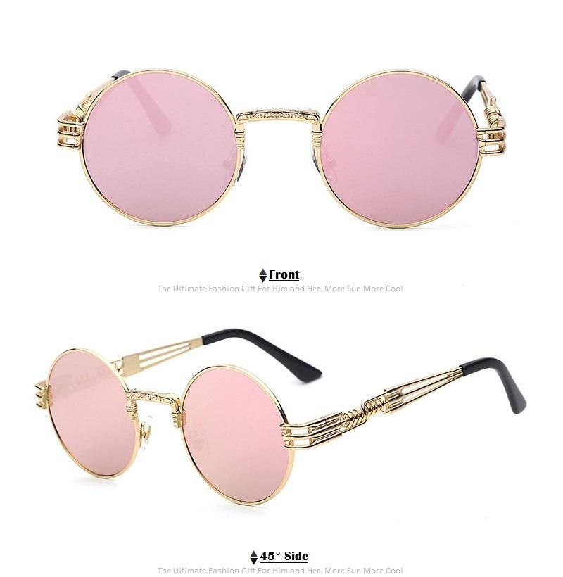 Round Metal Male Ladies General Fashion Retro Sunglasses