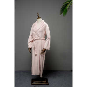 Popular Design for Long Robe With Fur Trim Pink waist belt island fleece long robe supply to Uzbekistan Factories